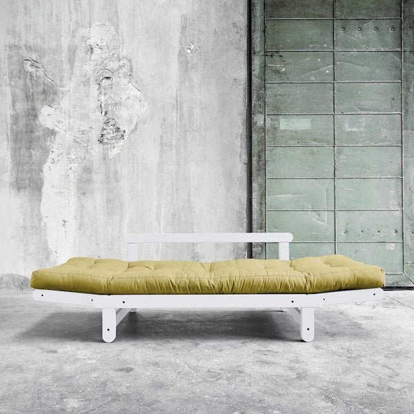 Sofa rozkładana Beat White/Avocado Green