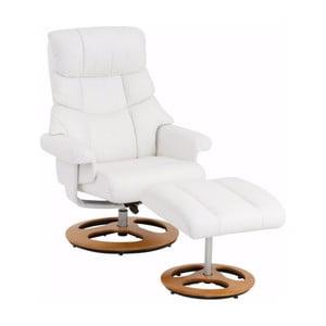 Biały fotel skórzany z podnóżkiem Støraa Tony