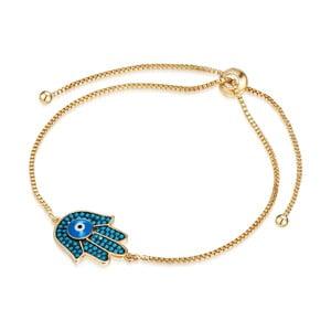 Damska bransoletka w kolorze złota z ręką Fatimy Runaway