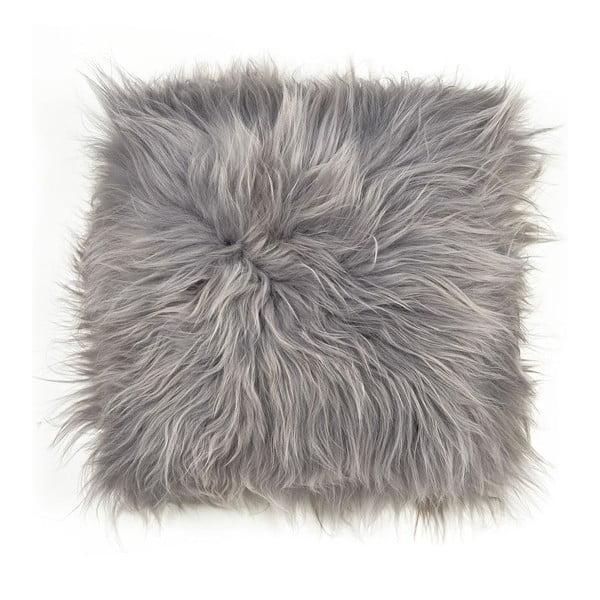 Poduszka futrzana do siedzenia z długim włosiem Grey, 37x37 cm
