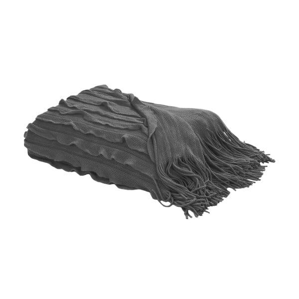 Koc z frędzlami 127x152 cm, szary