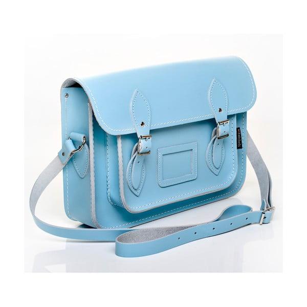 Skórzana torebka Satchel 33 cm, błękitna