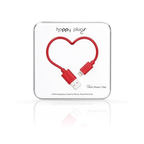 Kabel do ładowania i transmisji danych Happy Plugs 2 m, czerwony