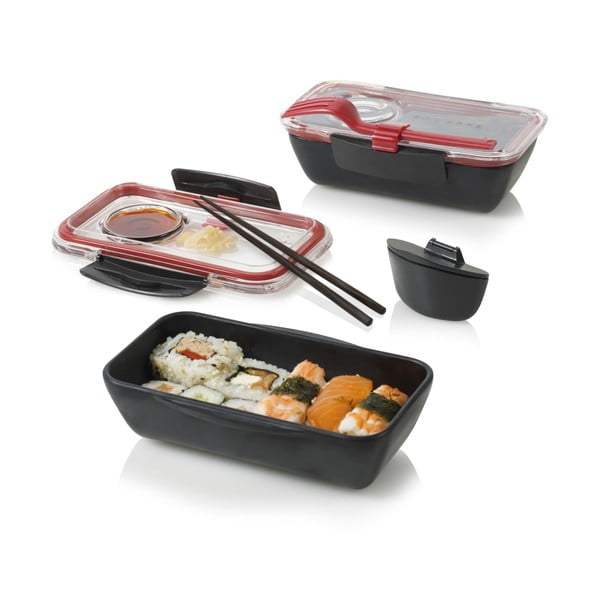 Pojemnik obiadowy Bento, czarny/czerwony