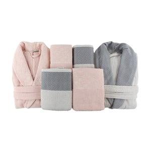 Rodzinny zestaw szlafroków i ręczników Pink&Grey