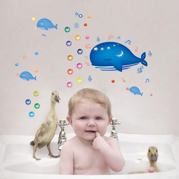 Naklejka z miarką wzrostu Fanastick Whale and Bubbles