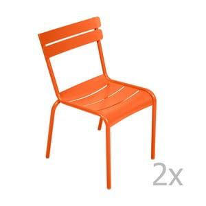 Zestaw 2 pomarańczowych krzeseł Fermob Luxembourg