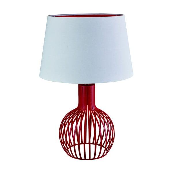 Lampa stołowa Searchlight Cage, biała/czerwona