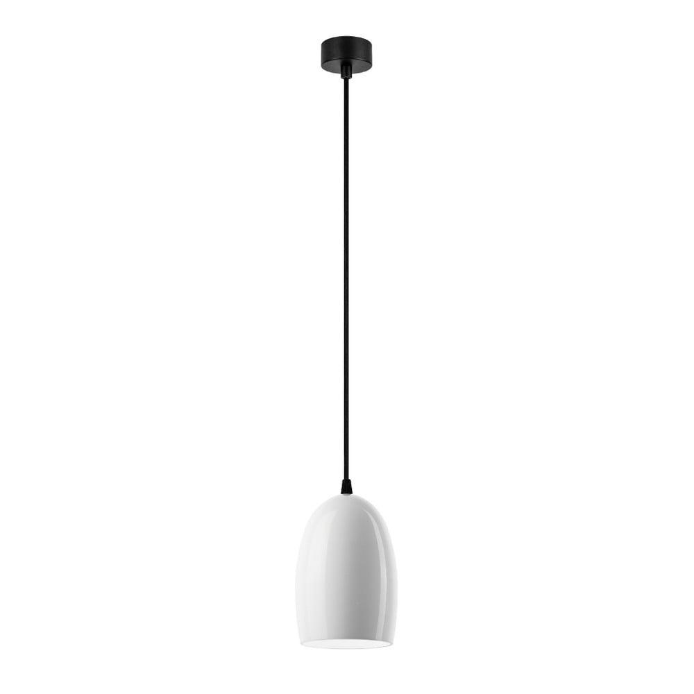 Biała lampa wisząca z połyskiem z czarnym kablem Sotto Luce Ume