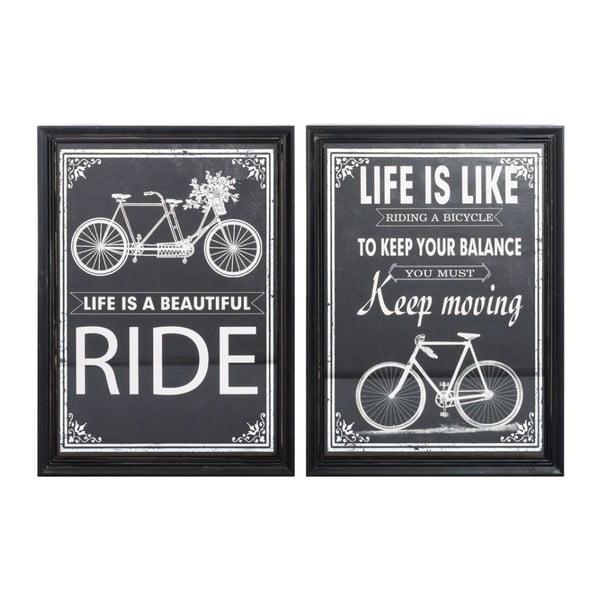 Zestaw 2 obrazów Bike Black, 41x56 cm