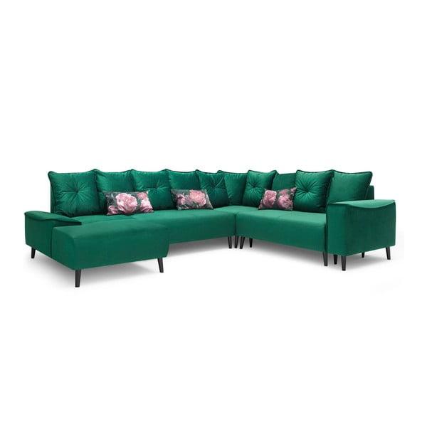 Zielona sofa rozkładana z szezlongiem Bobochic Paris Hera, lewostronna