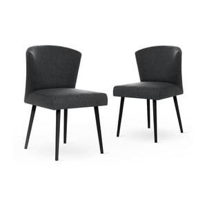 Zestaw 2 ciemnoszarych krzeseł z czarnymi nogami My Pop Design Richter