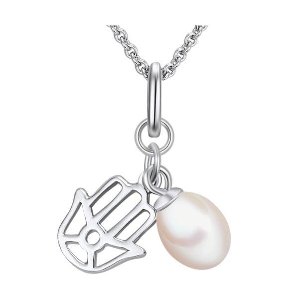 Srebrny   naszyjnik z zawieszką i perłą Chakra Pearls, 70 cm