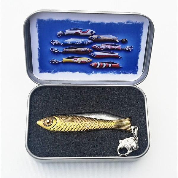 Scyzoryk rybka, świąteczny ze złotym okiem, w blaszanym pudełku