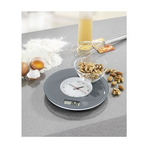 Szara waga kuchenna z zegarem Wenko Clock