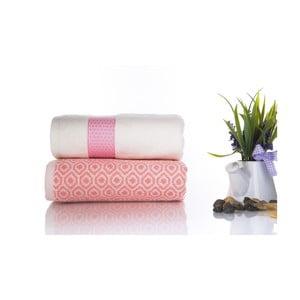 Komplet 2 różowo-białych ręczników z bawełny Ladik Alice, 50x90 cm