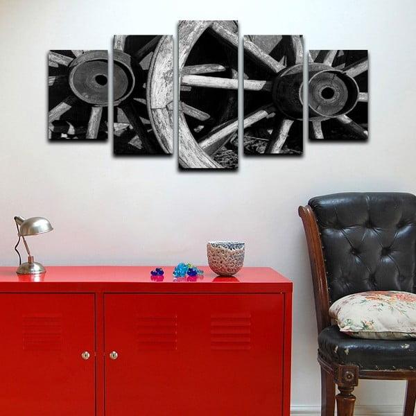 Wieloczęściowy obraz Black&White Wheels, 100x50 cm