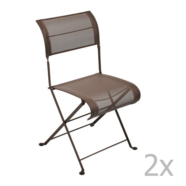 Zestaw 2 brązowych krzeseł składanych Fermob Dune