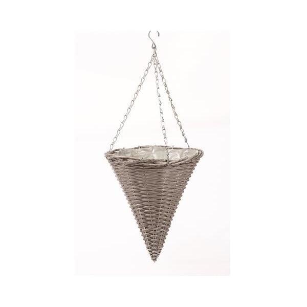 Podwieszana rattanowa doniczka Grey Cone
