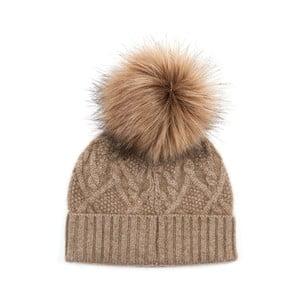 Brązowa czapka kaszmirowa Bel cashmere Dolores
