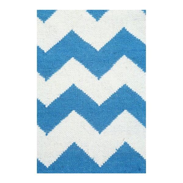 Dywan wełniany Geometry Zic Zac Dark Blue & White, 160x230 cm
