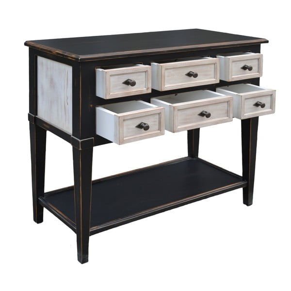 Stolik z 6 szufladami Erased Black White