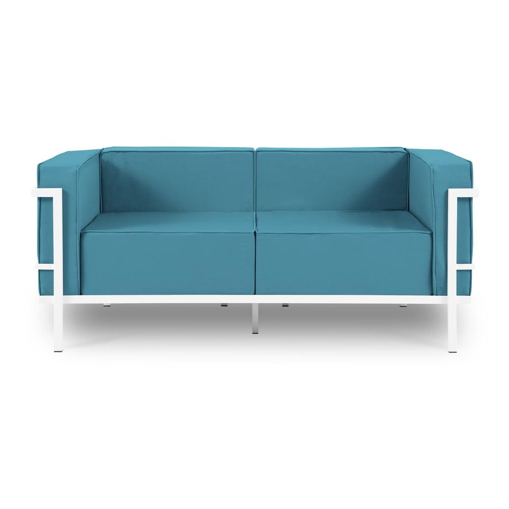 Niebieska 2-osobowa sofa ogrodowa w białej ramie Calme Jardin Cannes