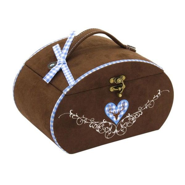 Szkatułka na biżuterię Bagvaria Brown/Blue, 22x14,5x13,5 cm