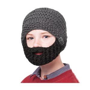 Szara czapka dziecięca z czarną brodą Beardo Kids