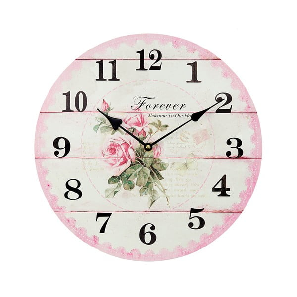 Zegar Roses Pink, 34 cm