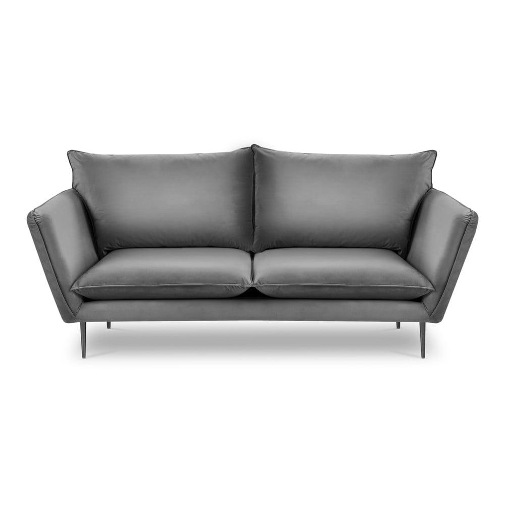 Jasnoszara aksamitna sofa Mazzini Sofas Acacia, dł. 205 cm