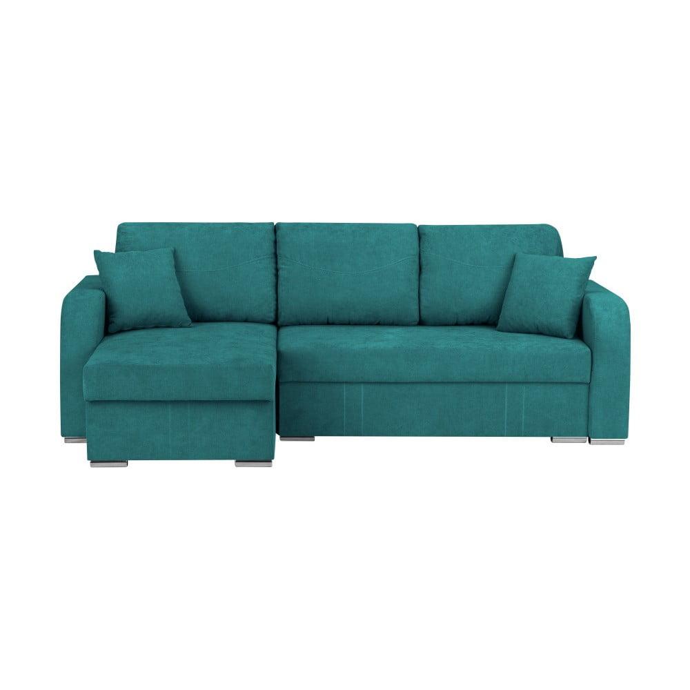 Turkusowa 3-osobowa narożna rozkładana sofa ze schowkiem Melart Louise