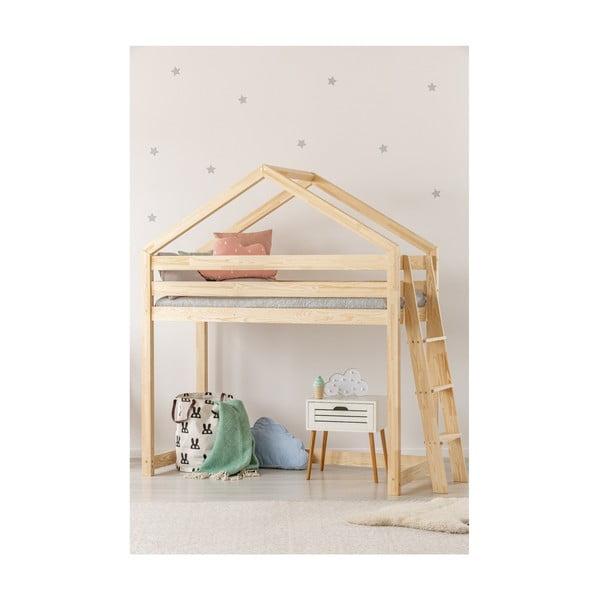Łóżko piętrowe w kształcie domku z drewna sosnowego Adeko Mila DMPBA, 90x180 cm