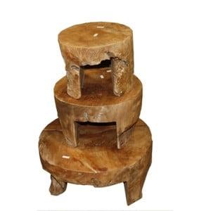 Zestaw 3 stolików z drewna tekowego HSM Collection Mara