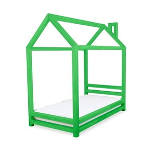 Zielone łożko dziecięce z drewna sosnowego Benlemi Happy,80x160cm