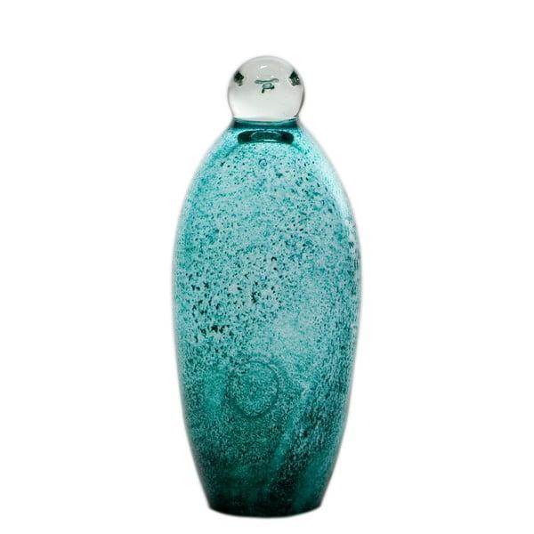 Szklany pingwin 18-19 cm, turkusowy
