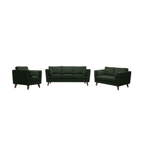 Zestaw fotela i 2 sof dwuosobowej i trzyosobowej Elisa, ciemnozielone