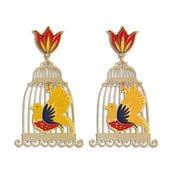 Kolczyki Ptaszek w klatce, kolorowe