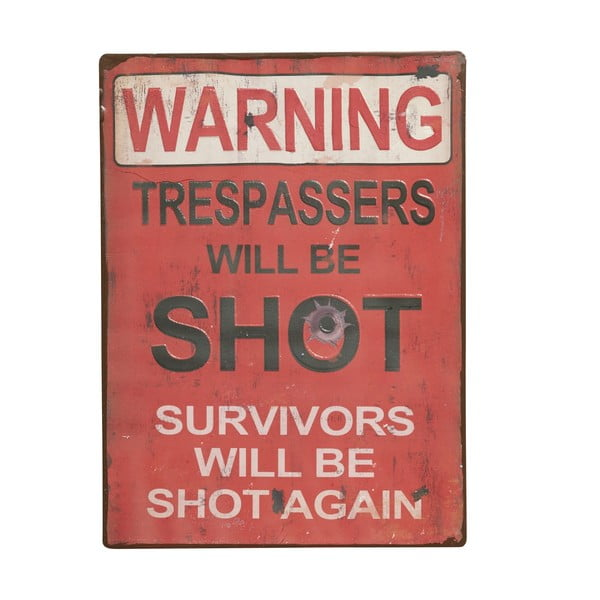 Tablica Warning! Trespassers will, 35x26 cm
