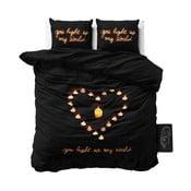 Czarna pościel z mikroperkalu Sleeptime Love Candles, 200x220 cm
