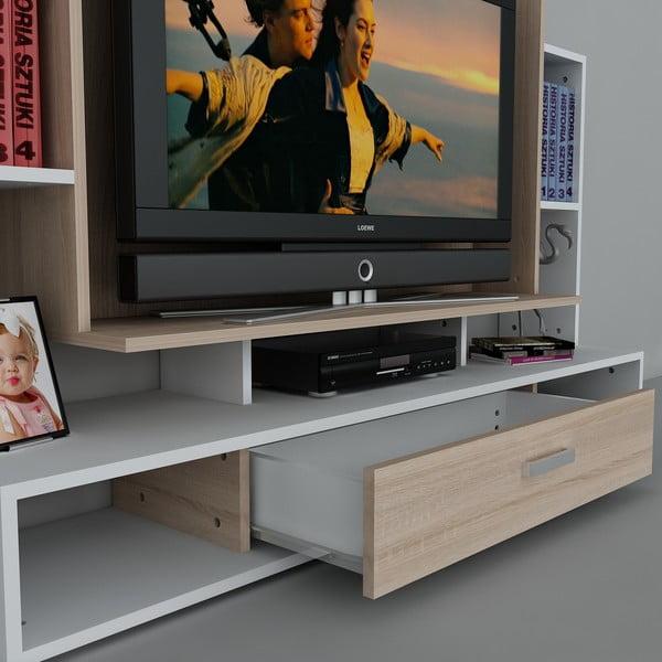 Stolik telewizyjny z regałem Teatro White,39x160x114,6 cm