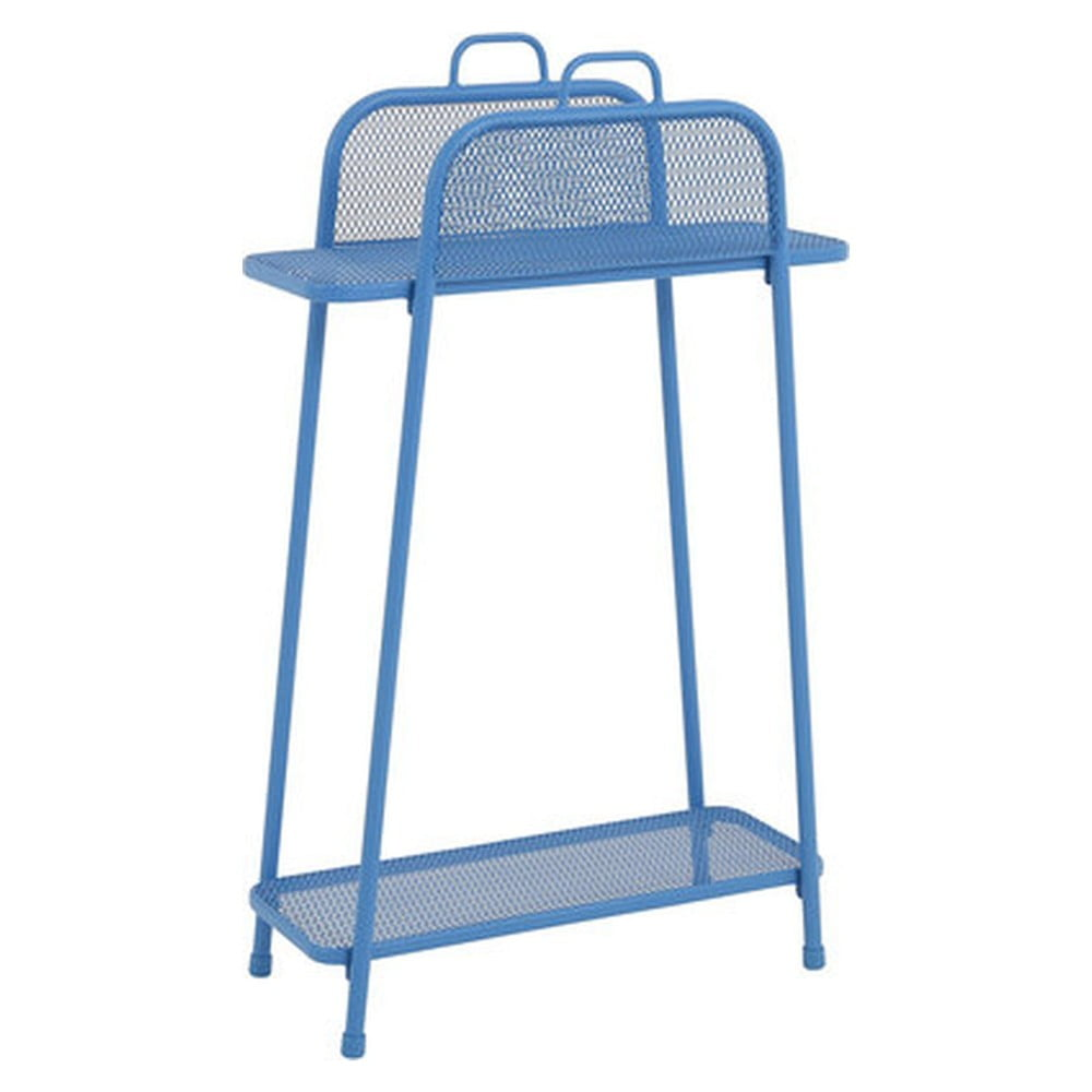 Niebieski metalowy regał na balkon ADDU MWH, wys. 105,5 cm