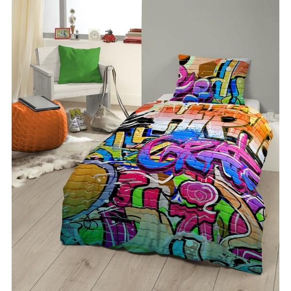 Dziecięca pościel jednoosobowa z czystej bawełny Muller Textiels Graffity, 135x200 cm