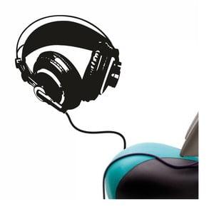 Naklejka ścienna Headphones bass, czarna