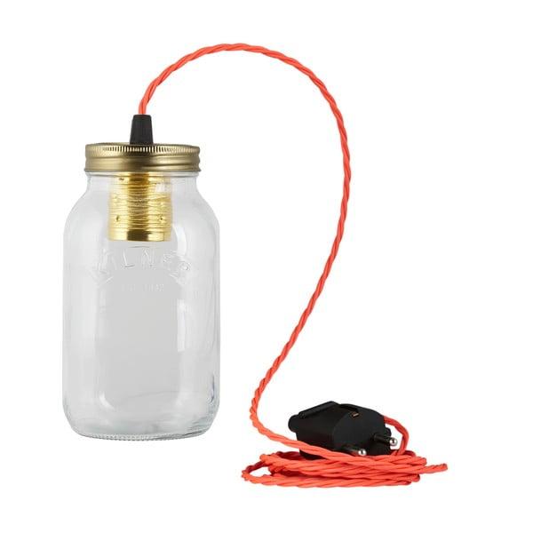 Lampa JamJar Lights, jaskrawy różowy skręcony kabel