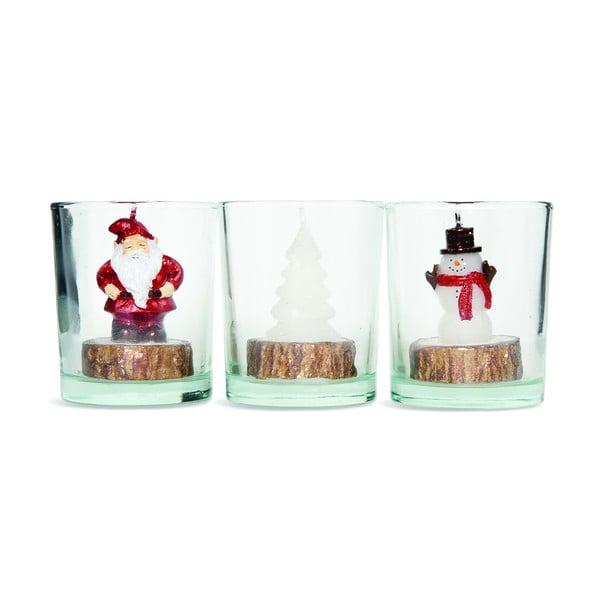 Zestaw 3 świeczników Santa Tree