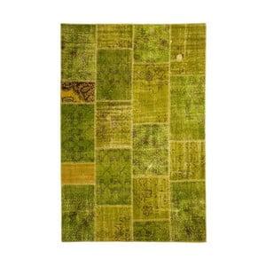 Dywan wełniany Allmode Patchwork Green, 150x80 cm