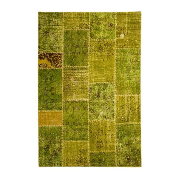Dywan wełniany Allmode Patchwork Green, 200x140 cm
