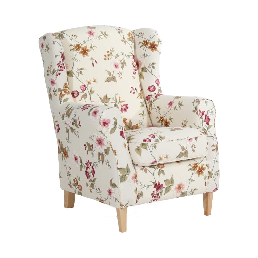 Biały fotel w kwiaty Max Winzer Lorris