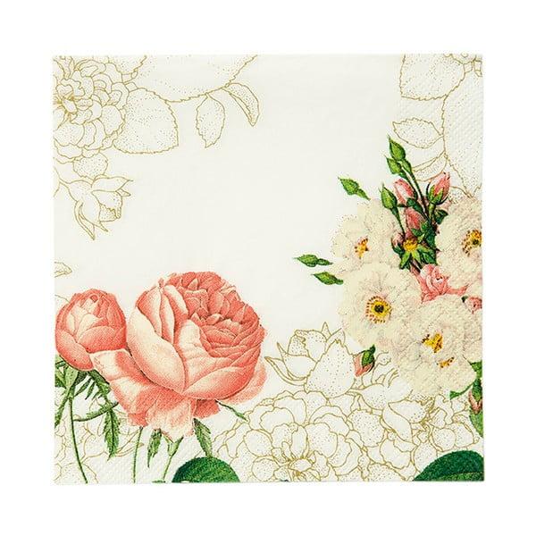 Komplet 20 serwetek papierowych Flowers